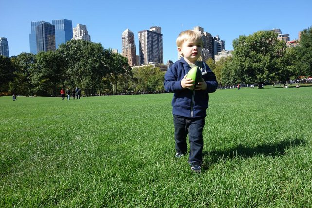 Playing football in the Sheep Meadow.