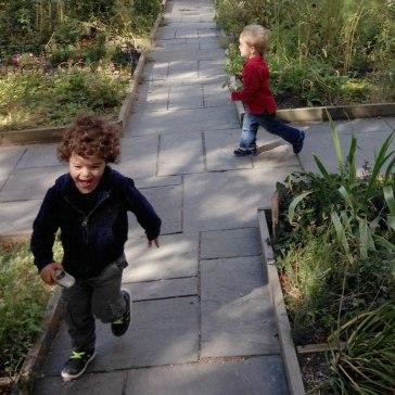 Running through the garden together.