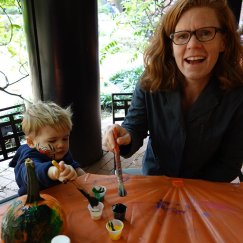 Pumpkin painting with Mom.