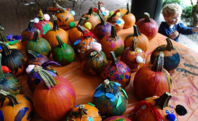 Patch of painted pumpkins