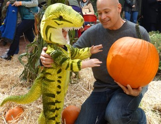 T. Rex picks a pumpkin