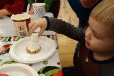 Building a marshmallow snowman