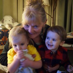 Grandma Mimi with grandkids.