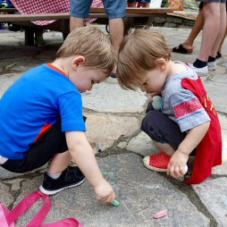 Chalk drawing with Henry and Hudson