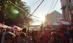 The sun beating down on the festival.