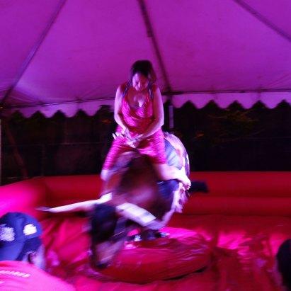 Miranda tries the bull.