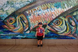 Subway fish mural.