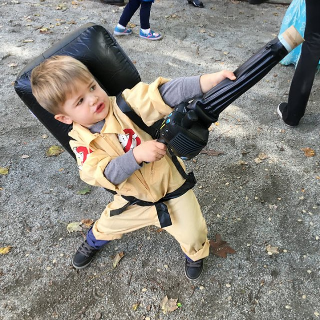 Perfecting his ghostbusting form